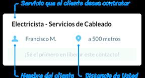 Imagen que describe la información que aparece en la solicitud que aparece en la aplicación.