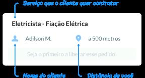 Imagem descrevendo as informações que constam no pedido que aparece no aplicativo.